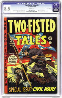 Two-Fisted Tales #35 Gaines File pedigree 6/11 (EC, 1953) CGC VF+ 8.5 White pages. Here's the third installment of write...