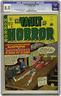 Golden Age (1938-1955):Horror, Vault of Horror #12 (#1) (EC, 1950) CGC VF 8.0 Off-white pages.Ranked as the #1 most valuable horror comic by Overstreet, t...