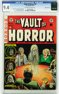 Golden Age (1938-1955):Horror, Vault of Horror #25 Gaines File pedigree 4/12 (EC, 1952) CGC NM 9.4Off-white to white pages. The title was Johnny Craig's o...