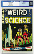 Golden Age (1938-1955):Science Fiction, Weird Science #7 Gaines File pedigree 8/10 (EC, 1951) CGC NM+ 9.6Off-white to white pages. Out there in the inky depths of ...