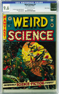 Golden Age (1938-1955):Science Fiction, Weird Science #9 Gaine File pedigree 9/12 (EC, 1951) CGC NM+ 9.6Off-white to white pages. Wally Wood's first cover for EC w...