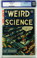 Golden Age (1938-1955):Science Fiction, Weird Science #20 Gaines File pedigree 9/11 (EC, 1953) CGC NM+ 9.6White pages. Proof that comic books were generally aimed ...