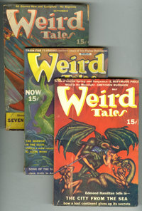 Weird Tales (Pulp) Group (Popular Fiction, 1940-47). This lot consists of issues from Jan/40 (GD-, cover detached); Marc...