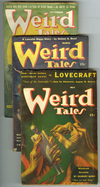 Weird Tales (Pulp) Group (Popular Fiction, 1941-49). This lot consists of issues dated March/41 (VG); May/41 (VG); Nov/4...