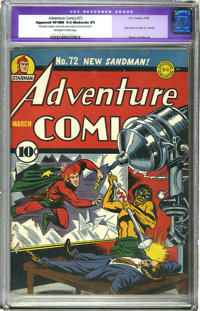 Adventure Comics #72 (DC, 1942) CGC Apparent VF/NM 9.0 Moderate (P) Off-white to white pages. Simon and Kirby's first wo...
