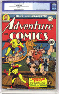 Golden Age (1938-1955):Superhero, Adventure Comics #75 (DC, 1942) CGC VF/NM 9.0 White pages. On this issue's Simon and Kirby cover, the Sandman and Sandy batt...