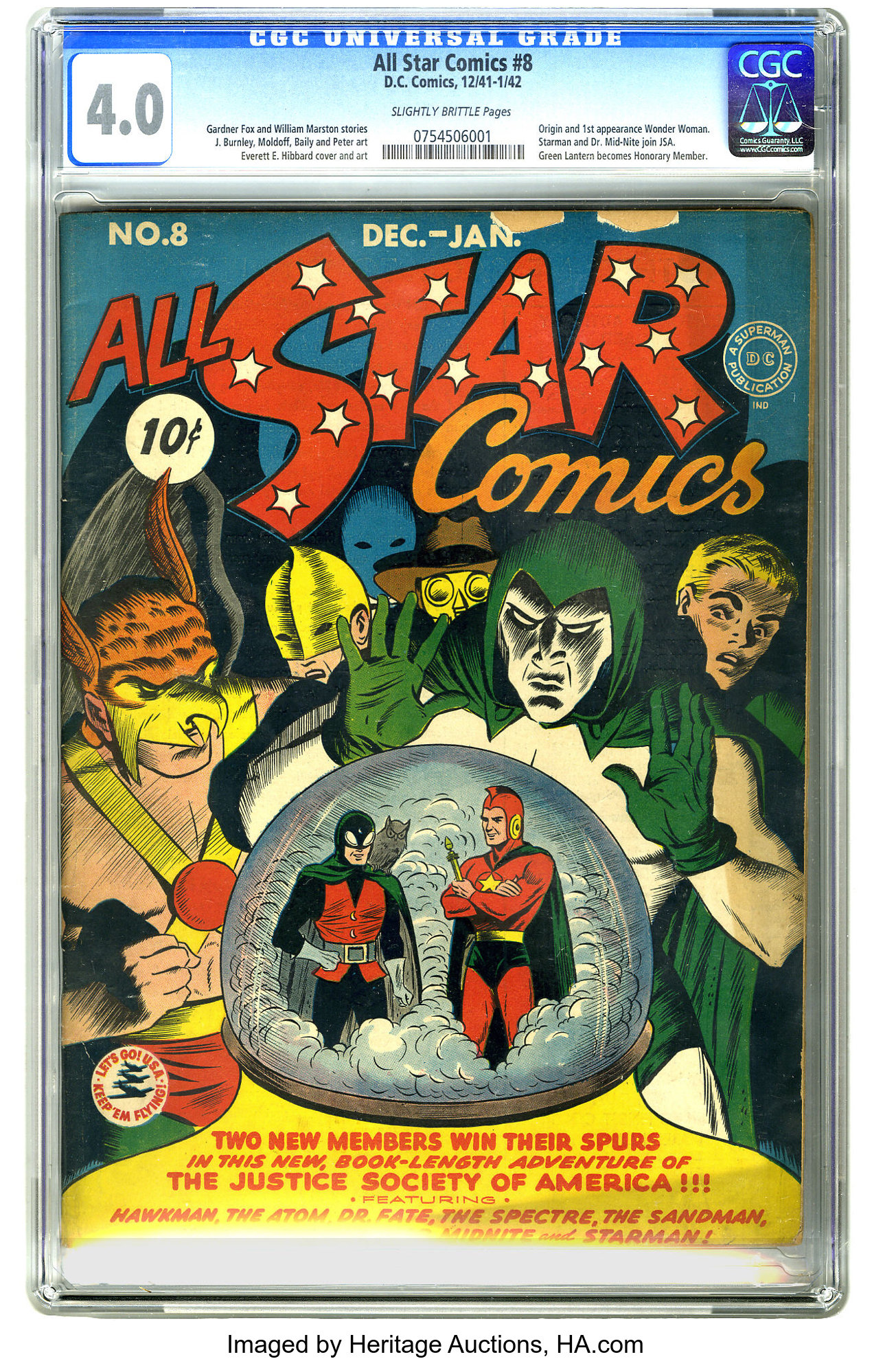 All Star Comics #8 (DC, 1942) CGC VG 4 0 Slightly brittle