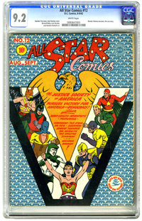 All Star Comics #12 (DC, 1942) CGC NM- 9.2 White pages. This is one of the nicest copies known to exist of this issue! T...