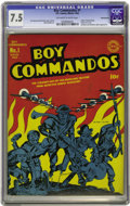 Golden Age (1938-1955):War, Boy Commandos #1 Pennsylvania pedigree (DC, 1942) CGC VF- 7.5 Off-white to white pages. This was only the second title (afte...