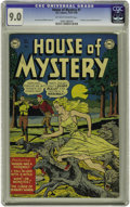 Golden Age (1938-1955):Horror, House of Mystery #1 (DC, 1952) CGC VF/NM 9.0 Off-white to whitepages. This was DC's first horror comic book, and it became ...