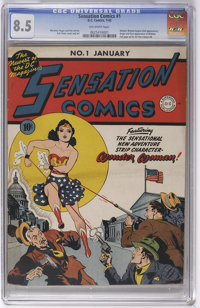Sensation Comics #1 (DC, 1942) CGC VF+ 8.5 Off-white pages. This key comic is listed among the 30 most valuable comics b...