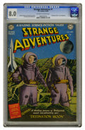 Golden Age (1938-1955):Science Fiction, Strange Adventures #1 (DC, 1950) CGC VF 8.0 Off-white to whitepages. This issue's unusual photo/grey tone cover shows a sce...