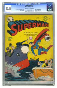 Superman #13 (DC, 1941) CGC VF+ 8.5 Off-white to white pages. This is the nicest copy we've seen of this issue, and no c...