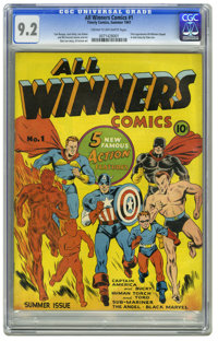 All Winners Comics #1 (Timely, 1941) CGC NM- 9.2 Cream to off-white pages. Everything that Timely collectors love comes...