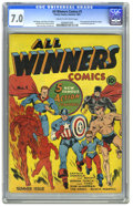 Golden Age (1938-1955):Superhero, All Winners Comics #1 (Timely, 1941) CGC FN/VF 7.0 Cream to off-white pages. It's no wonder this issue is listed among Overs...