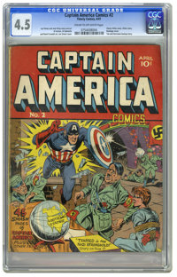 "Captain America Comics #2 (Timely, 1941) CGC VG+ 4.5 Cream to off-white pages. ""Der Tag has arrived at last .. my m..."