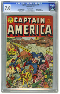 Captain America Comics #41 (Timely, 1944) CGC FN/VF 7.0 Off-white pages. Alex Schomburg's cover for this issue is the la...