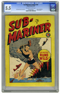 Sub-Mariner Comics #32 (Timely, 1949) CGC FN- 5.5 Off-white to white pages. This was the last Timely issue of this title...