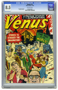 "Venus #11 (Atlas, 1950) CGC VF+ 8.5 Off-white pages. This issue's ""End of the World"" cover makes it one of the..."