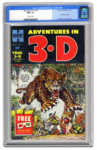 Adventures in 3-D #1 (Harvey, 1953) CGC NM+ 9.6 Off-white pages. Here's a specimen from the brief period when 3-D comics...