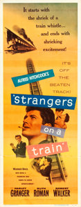 """Movie Posters:Hitchcock, Strangers on a Train (Warner Brothers, 1951). Insert (14"""" X 36"""")....."""