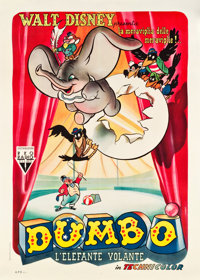 "Dumbo (RKO, 1948). First Post-War Release Italian 2 - Foglio (39.5"" X 55"")"