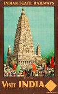 """Movie Posters:Miscellaneous, India Travel Poster (India State Railways, 1930s). Full-BleedPoster (25"""" X 39.75"""") """"Visit India."""". ..."""