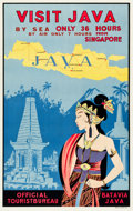"Movie Posters:Miscellaneous, Java Travel Poster (Official Tourist Bureau, Batavia, 1930s).Poster (25.5"" X 40.75"") ""Only 36 Hours From Singapore."". ..."