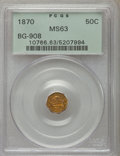 California Fractional Gold: , 1870 50C Liberty Octagonal 50 Cents, BG-908, R.5, MS63 PCGS. PCGSPopulation (9/29). NGC Census: (2/7). ...