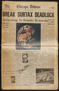 Autographs:Others, 1969 Buzz Aldrin Signed Newspaper....