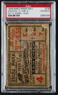 Baseball Collectibles:Tickets, 1929 World Series Game 4 Ticket Stub, PSA Authentic....