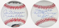 "Baseball Collectibles:Balls, Joe DiMaggio ""Yankee Clipper"" and Dom DiMaggio Single SignedBaseballs Lot of 2...."