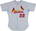 Baseball Collectibles:Uniforms, 2000 Mike Matheny Game Worn St. Louis Cardinals Jersey - From First Gold Glove Season With Team Letter. ...