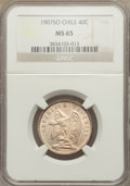 Chile, Chile: Republic 40 Centavos 1907-So MS65 NGC,...