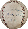 Autographs:Baseballs, 1931 Carl Mays Single Signed Baseball....