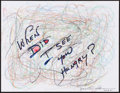 Movie/TV Memorabilia:Autographs and Signed Items, Martin Sheen. Doodle for Hunger. Mixed Media on Paper. 8.5 x 11 Inches. Estimate: $100-$300. Condition: Fine. ...