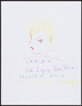 Movie/TV Memorabilia:Autographs and Signed Items, Joyce Brothers. Doodle for Hunger. Crayon on Paper. 11 x 8.5Inches. Estimate: $100-$300. Condition: Fine. ...