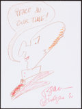 Movie/TV Memorabilia:Autographs and Signed Items, Beau Bridges. Doodle for Hunger. Crayon on Paper. 9 x 12 Inches. Estimate: $100-$300. Condition: Fine. ...