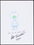 Movie/TV Memorabilia:Autographs and Signed Items, Art Linkletter. Doodle for Hunger. Crayon on Paper. 9 x 12 Inches. Estimate: $100-$300. Condition: Fine. ...