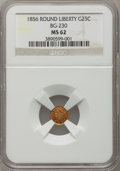 California Fractional Gold: , 1856 25C Liberty Round 25 Cents, BG-230, Low R.4, MS62 NGC. NGCCensus: (6/13). PCGS Population (30/71). ...