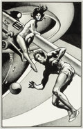 Pulp, Pulp-like, Digests, and Paperback Art, STEVE FABIAN (American, b. 1930). Survey Ship, interior bookillustration, 1980. Ink on paper. 10.5 x 6.75 in. (sight). ...(Total: 2 Items)
