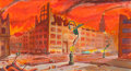 Pulp, Pulp-like, Digests, and Paperback Art, ROBERT ENGLE (American, 20th Century). Devastation of City.Gouache on board. 6 x 11 in. (sight). Not signed. ...