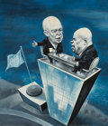 Mainstream Illustration, ROBERT ENGLE (American, 20th Century). Ike and Kruschev,Newsweek magazine preliminary illustration, September 21,1959... (Total: 2 Items)