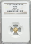 California Fractional Gold: , 1871 25C Liberty Round 25 Cents, BG-838, R.2, MS63 NGC. NGC Census:(15/5). PCGS Population (52/28). ...
