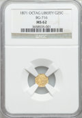California Fractional Gold: , 1871 25C Liberty Octagonal 25 Cents, BG-716, R.6, MS62 NGC. NGCCensus: (2/3). PCGS Population (0/17). ...