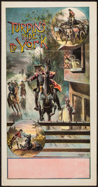 """Turpin's Ride to York (Stafford & Co., 1900's). British Theatre Poster (12.75"""" X 24.5""""). Miscellaneous..."""