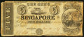 Obsoletes By State:Michigan, Singapore, MI- The Bank of Singapore $5 Dec. 30, 1837 G8 Lee SIN-1-4. ...