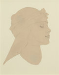 Pin-up and Glamour Art, MAXFIELD PARRISH (American, 1870-1966). Woman in Profile.Pencil on paper cutout laid on board. 5 x 4 in. (sight). Not s...