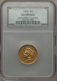 1859 $3 -- Improperly Cleaned -- NCS. AU Details. NGC Census: (33/466). PCGS Population (53/297). Mintage: 15,558. Numis...