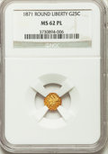 California Fractional Gold: , 1871 25C Liberty Round 25 Cents, BG-838, R.2, MS62 Prooflike NGC.NGC Census: (16/22). ...